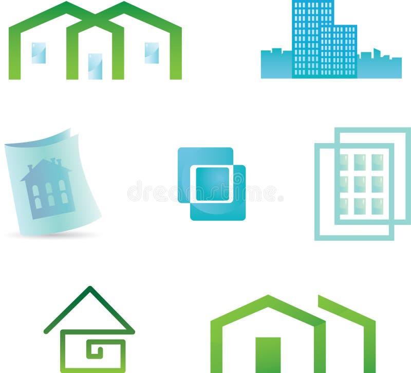 Jogo de 7 ícones dos bens imobiliários e ele de construção do projeto ilustração stock