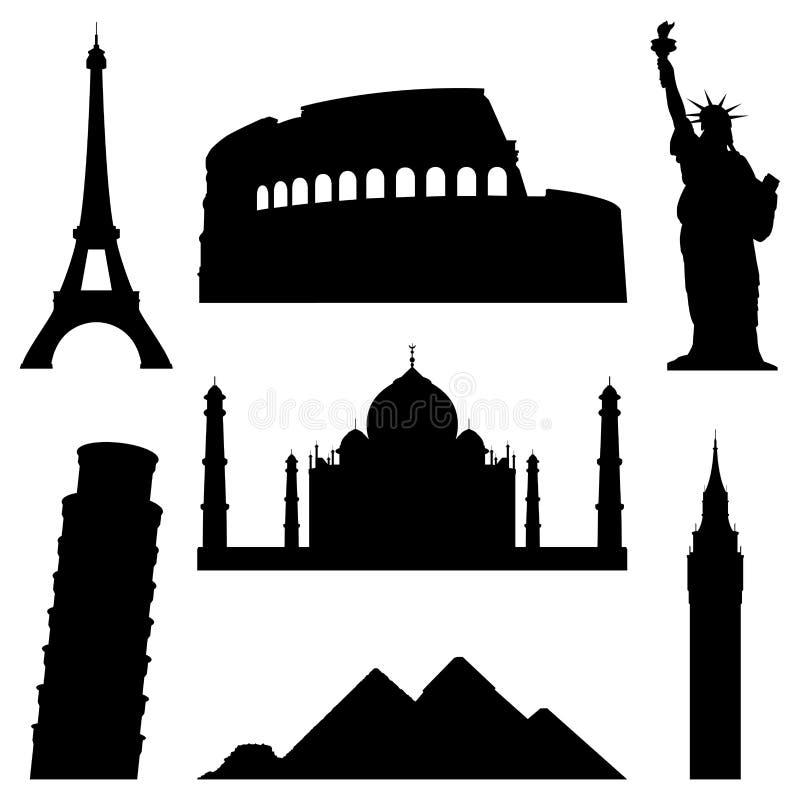 Jogo de 7 silhuetas de lugares famosos do mundo. ilustração stock