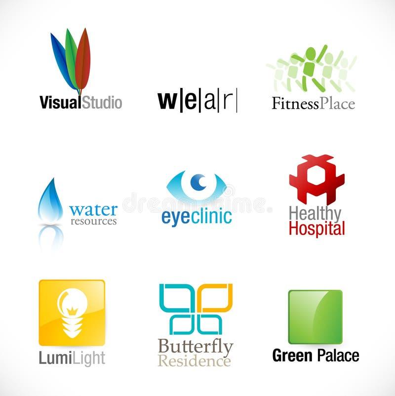 Jogo de 9 logotypes novos ilustração stock