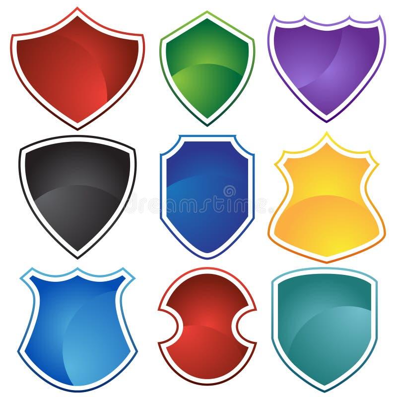 Jogo de 9 protetores ilustração stock