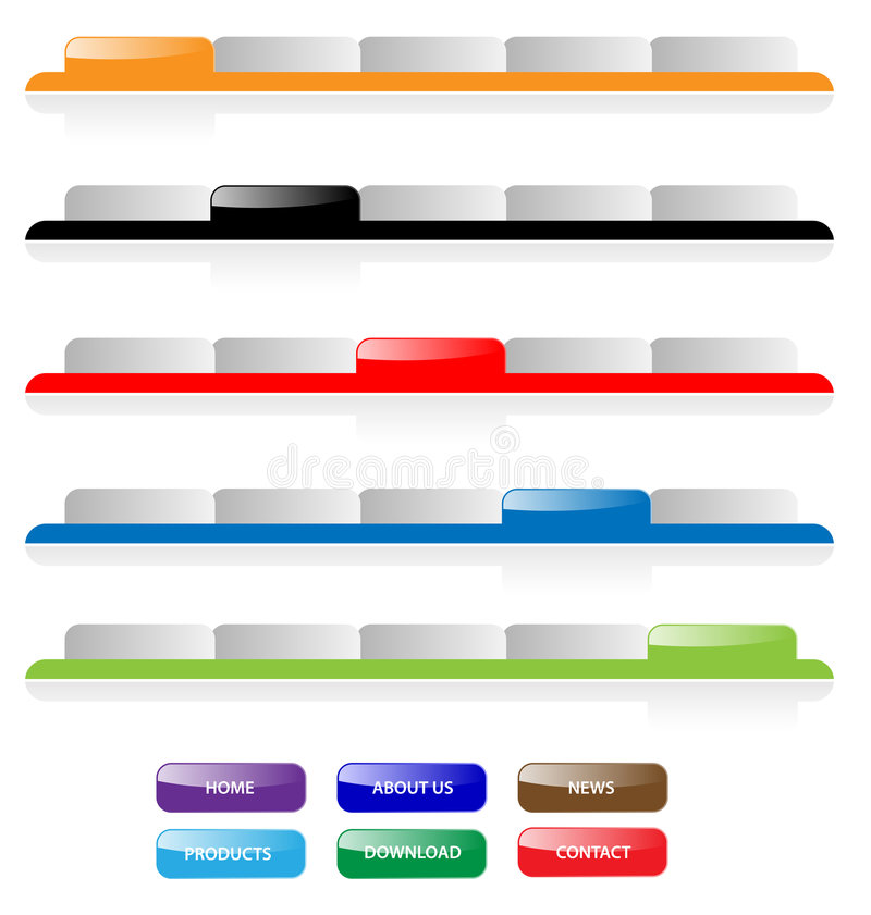 Jogo de abas e de teclas da navegação. ilustração stock