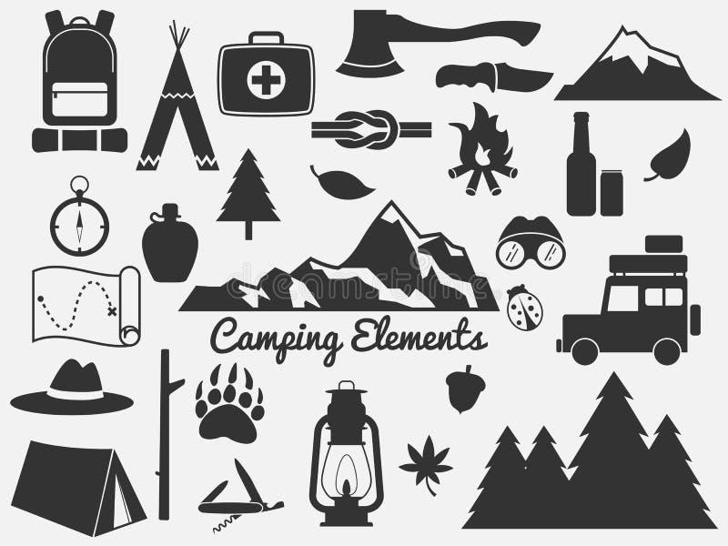 Jogo de acampamento do ícone ilustração stock