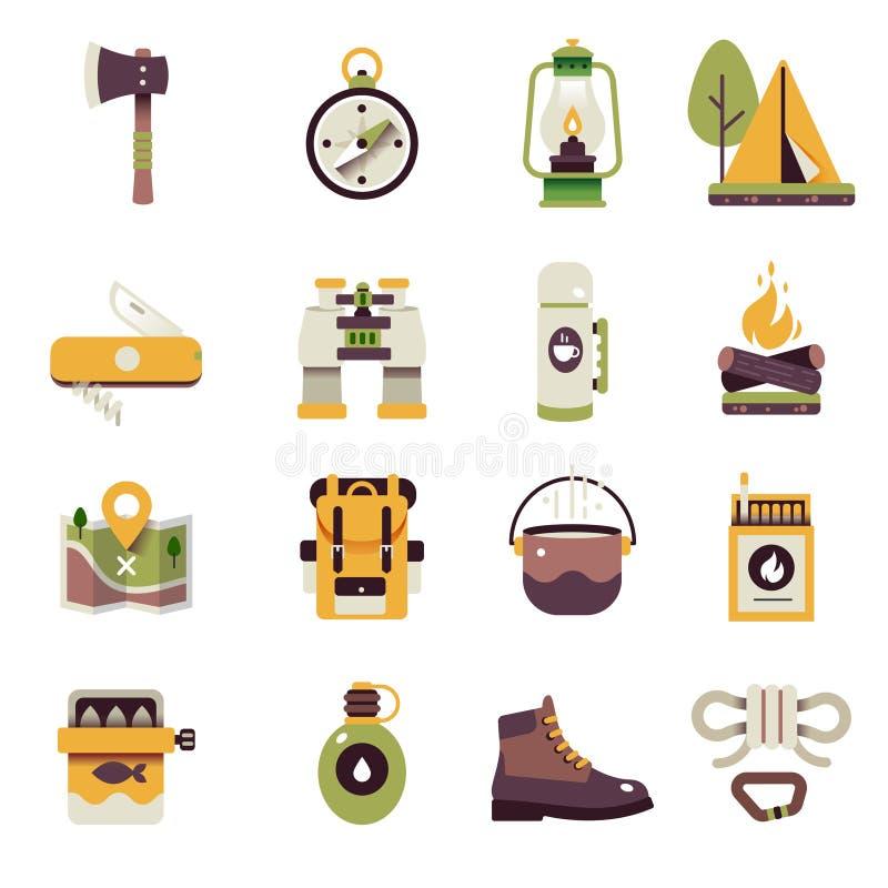 Jogo de acampamento do ícone ilustração royalty free