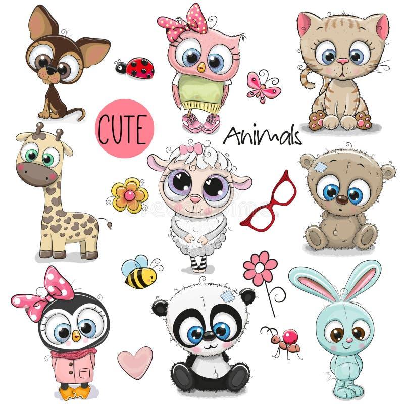 Jogo de animais bonitos dos desenhos animados ilustração royalty free
