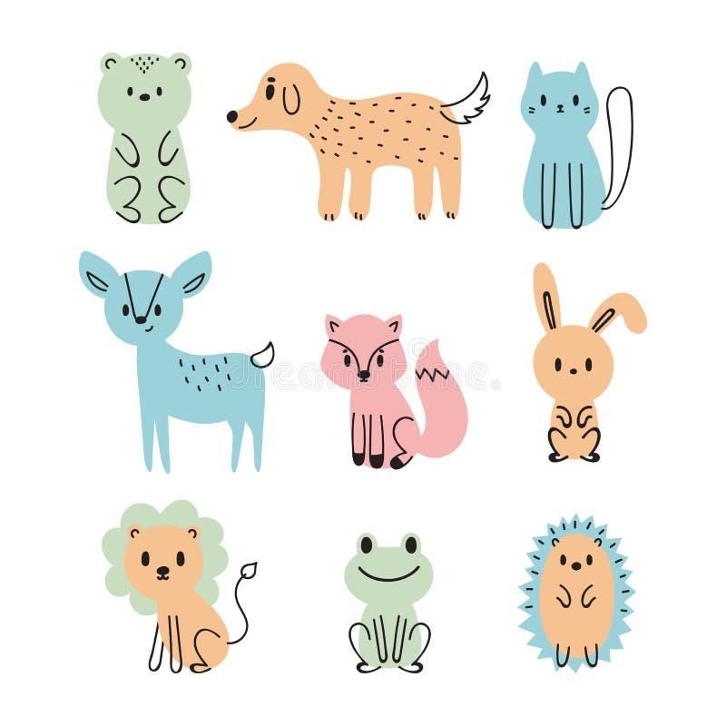 Jogo de animais bonitos dos desenhos animados E r ilustração royalty free