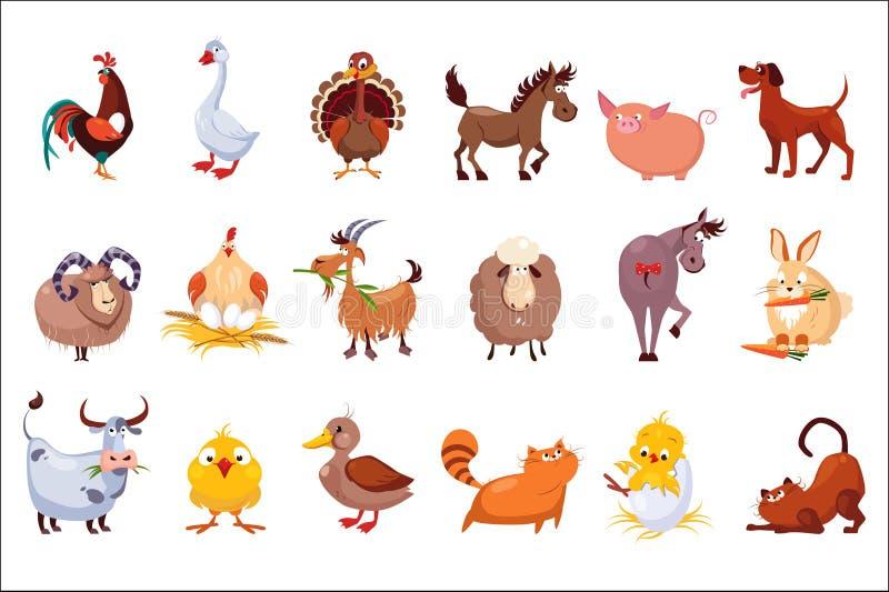 Jogo de animais de exploração agrícola Rebanhos animais e aves domésticas E colorido ilustração royalty free