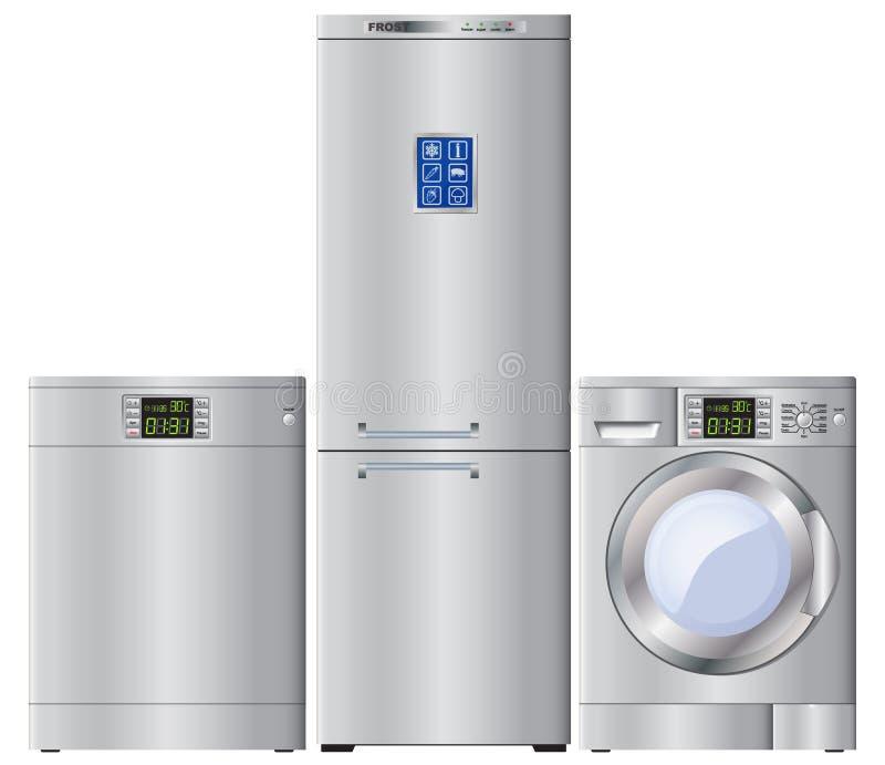 Jogo de aparelhos electrodomésticos ilustração do vetor