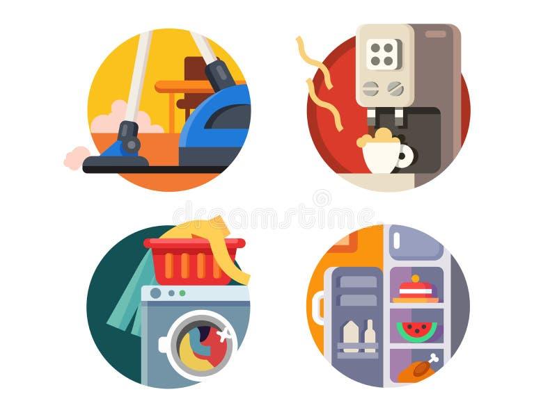 Jogo de aparelhos electrodomésticos ilustração royalty free
