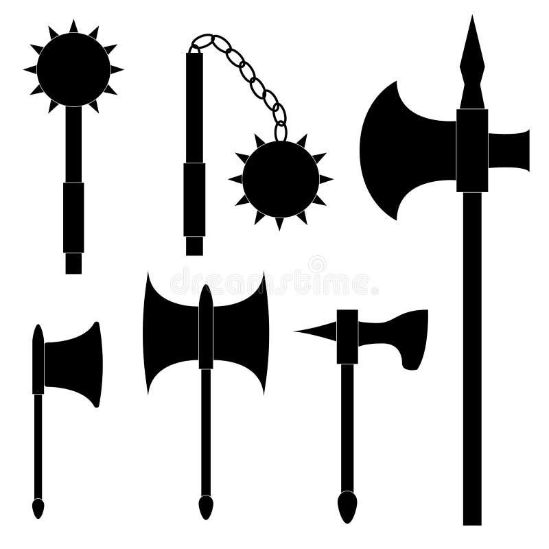 Jogo de armas medievais O machado, macete de matadouro, macis e kisten ilustração royalty free