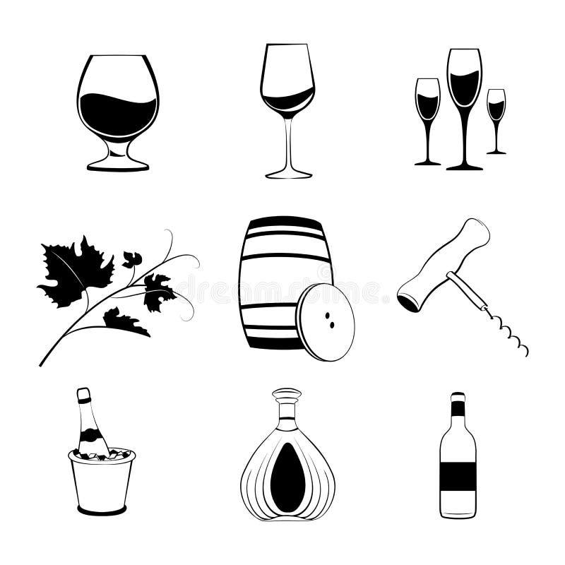 Jogo de artigos do vinho ilustração do vetor