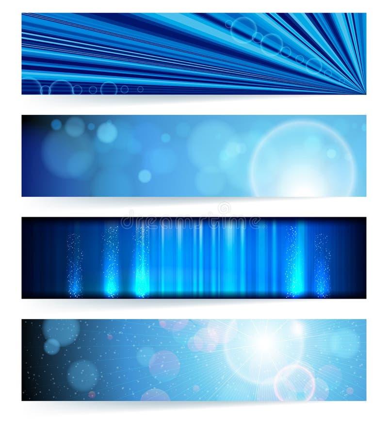 Jogo de bandeiras abstratas. Projeto azul. ilustração do vetor