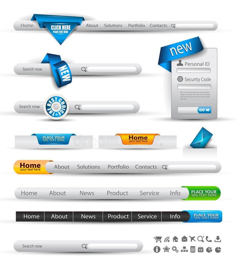 Jogo de bandeiras da busca e de encabeçamento do Web ilustração do vetor