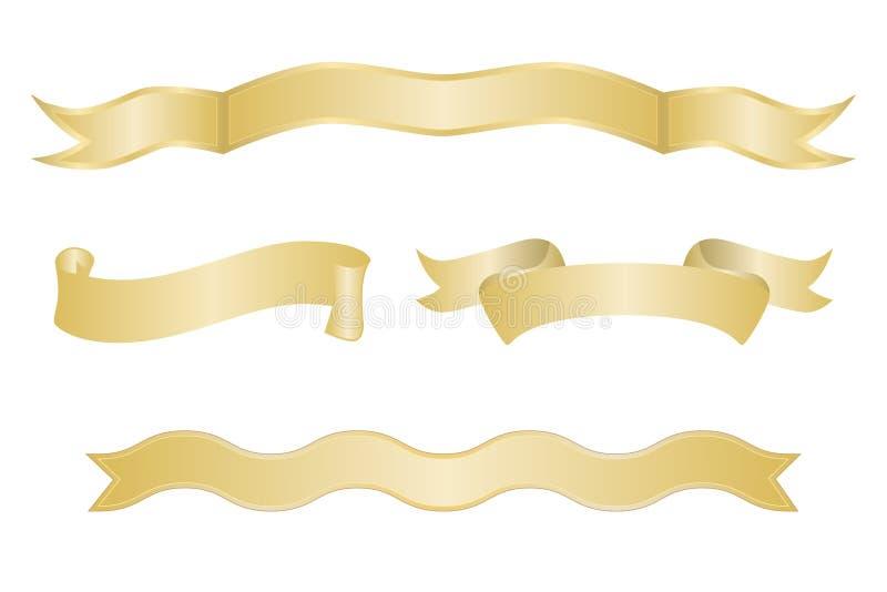Jogo de bandeiras da fita do ouro ilustração stock