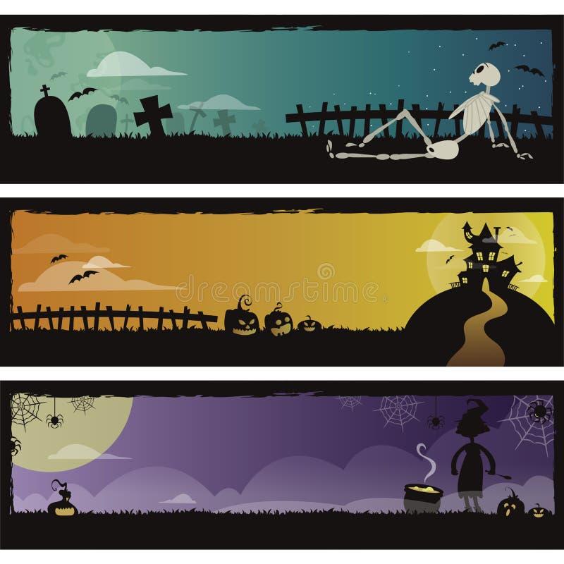 Jogo de 3 bandeiras de Halloween ilustração stock