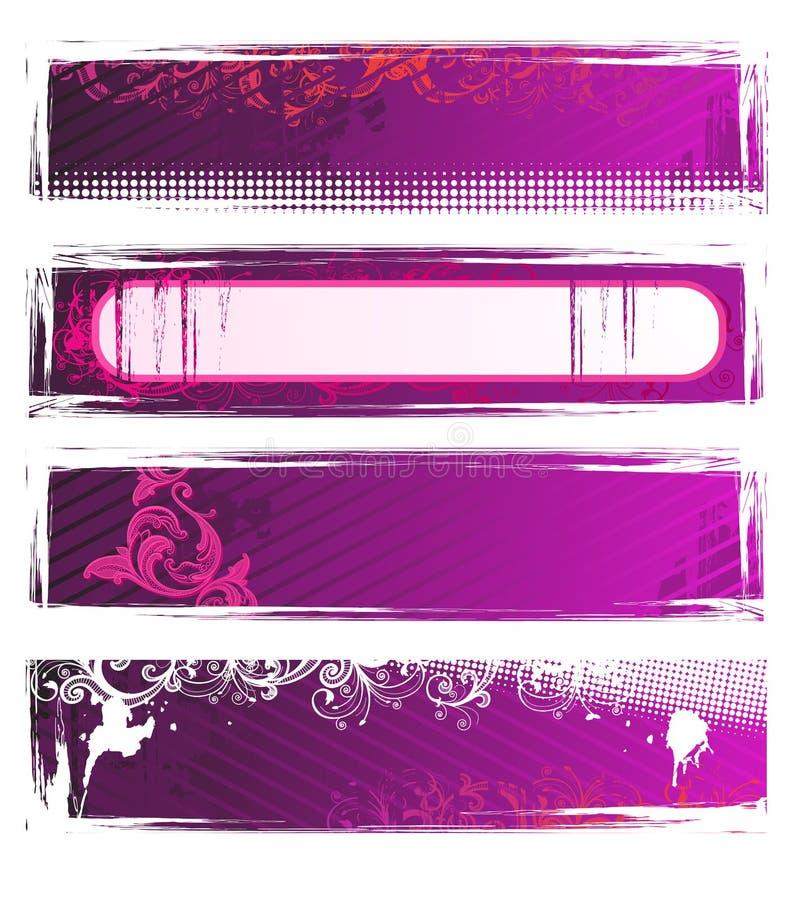 Jogo de bandeiras do grunge da cor-de-rosa do vetor ilustração do vetor