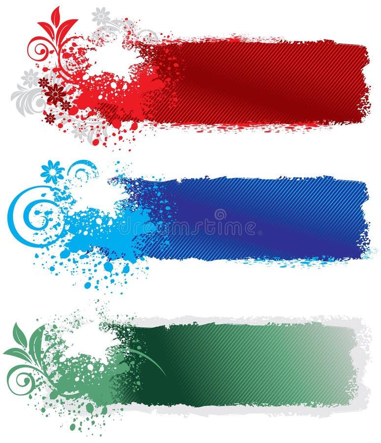 Jogo de bandeiras do splatter ilustração stock
