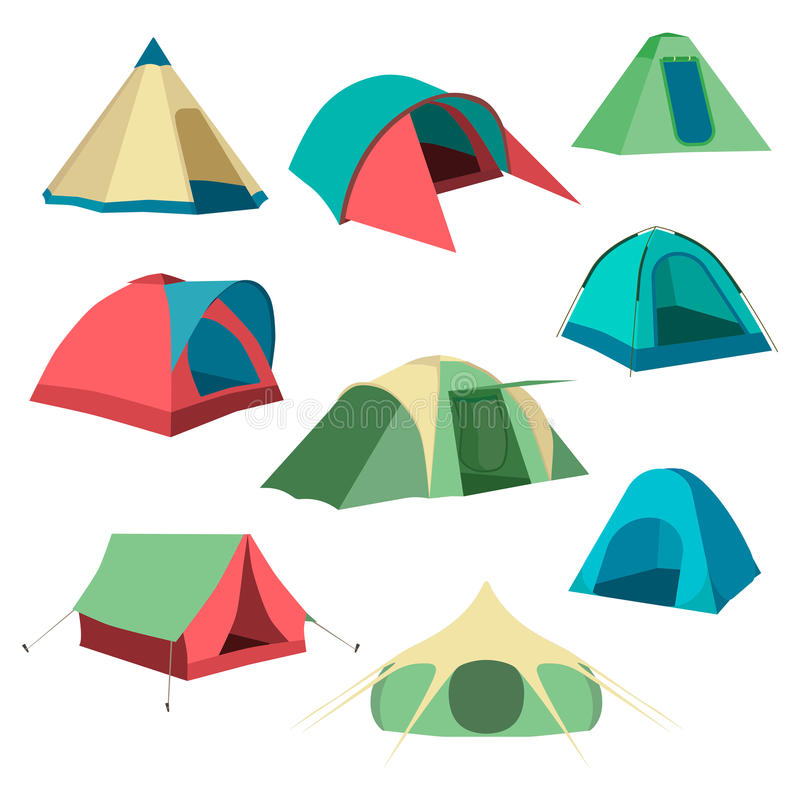 Jogo de barracas do turista Coleção de ícones da barraca de acampamento Ilustração do vetor ilustração stock