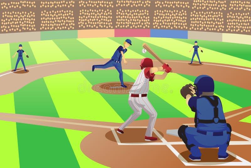 Jogo de basebol ilustração do vetor