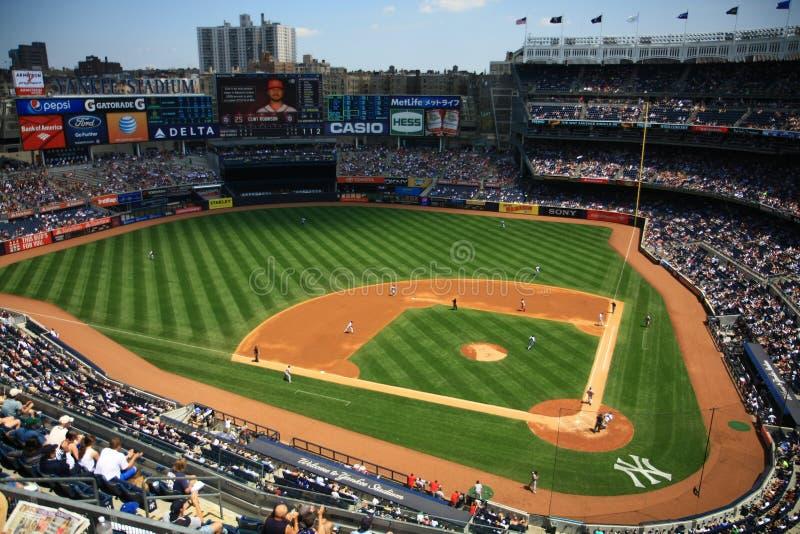Jogo de basebol Yankee Stadium de New York fotografia de stock
