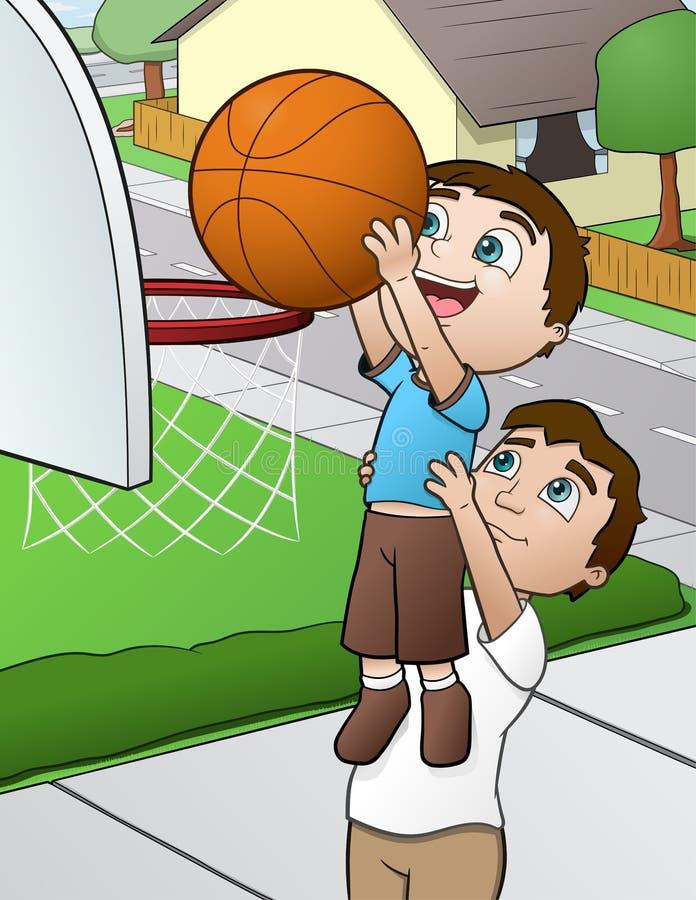 Jogo de basquetebol da família ilustração do vetor