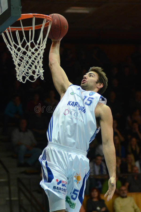 Jogo de basquetebol de Kaposvar - de Salgotarjan imagens de stock royalty free