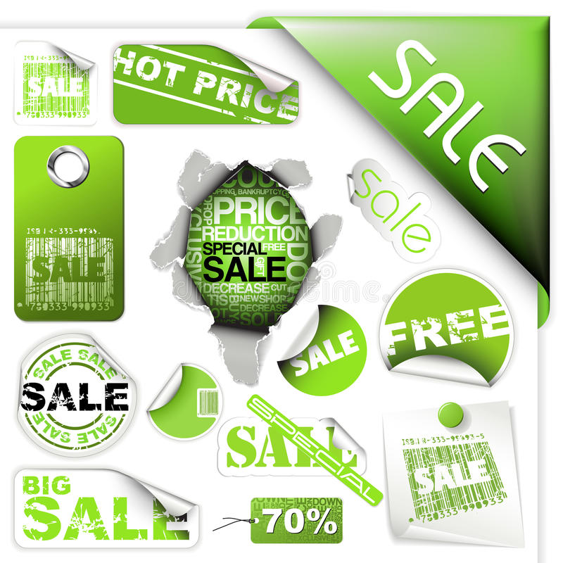 Jogo de bilhetes e de etiquetas verdes da venda ilustração stock