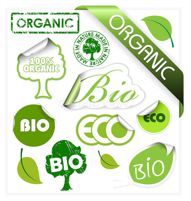 Jogo de bio, eco, elementos orgânicos ilustração do vetor