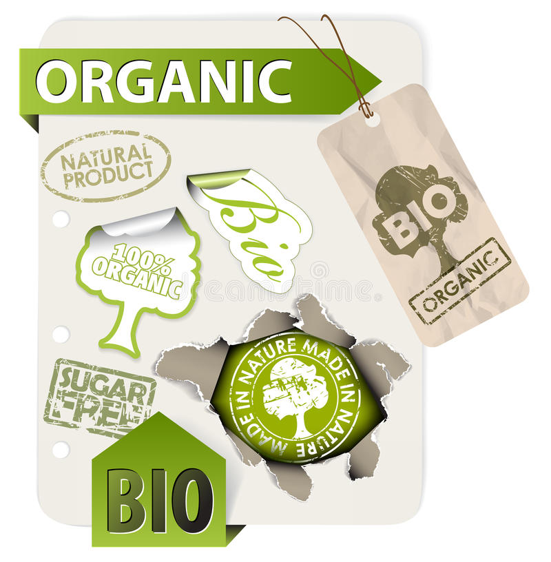 Jogo de bio, eco, elementos orgânicos ilustração stock