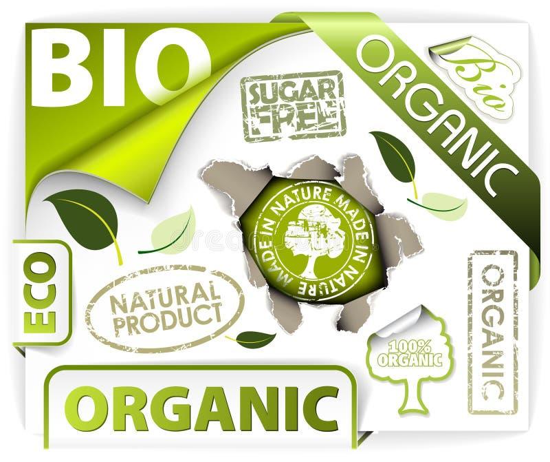 Jogo de bio, eco, elementos orgânicos ilustração royalty free