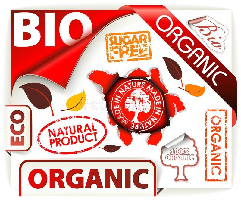Jogo de bio vermelho, eco, elementos orgânicos ilustração do vetor