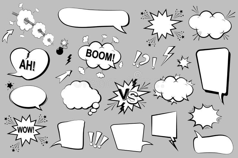 Jogo de bolhas cómicas do discurso Ícones dos desenhos animados Ilustração do vetor ilustração do vetor