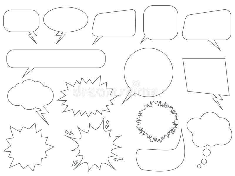 Jogo de bolhas do discurso ilustração stock