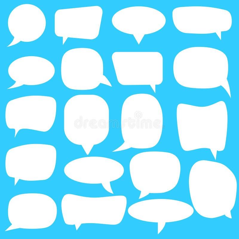 Jogo de bolhas do discurso Bolhas brancas do discurso do vetor vazio vazio Projeto da palavra do balão dos desenhos animados ilustração stock