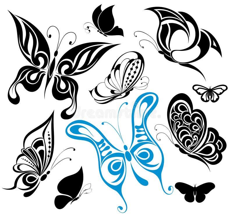 Jogo de borboletas do tatuagem ilustração stock