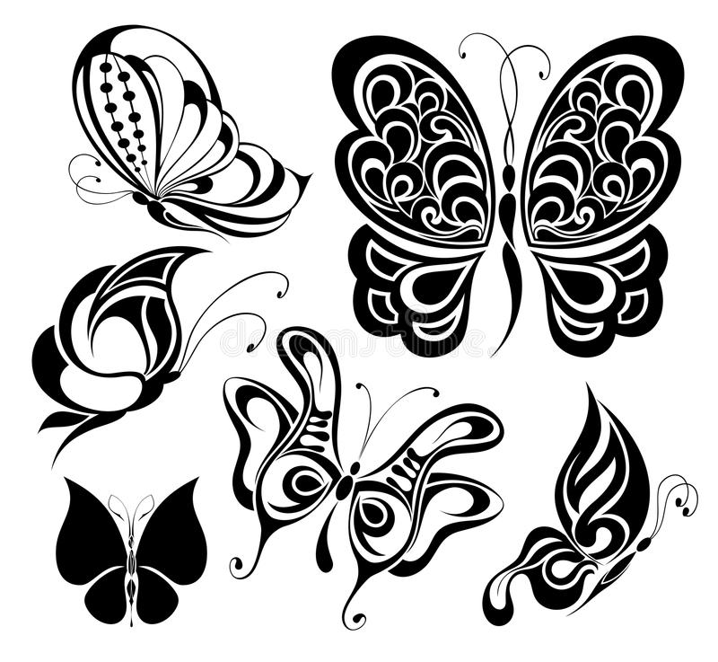 Jogo de borboletas do tatuagem ilustração royalty free