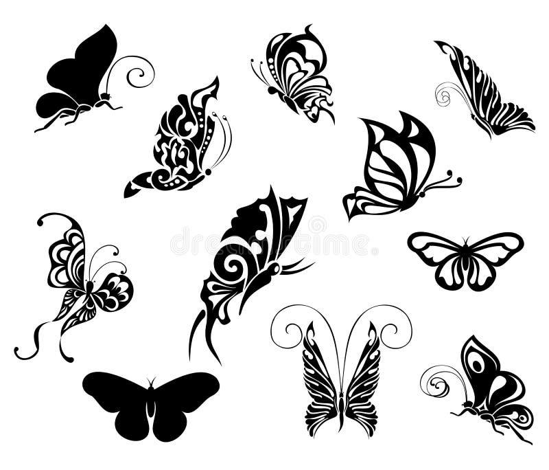 Jogo de borboletas do tatuagem. Projeto do tatuagem ilustração royalty free