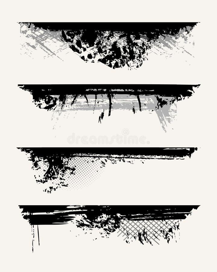 Jogo de bordas do grunge ilustração do vetor