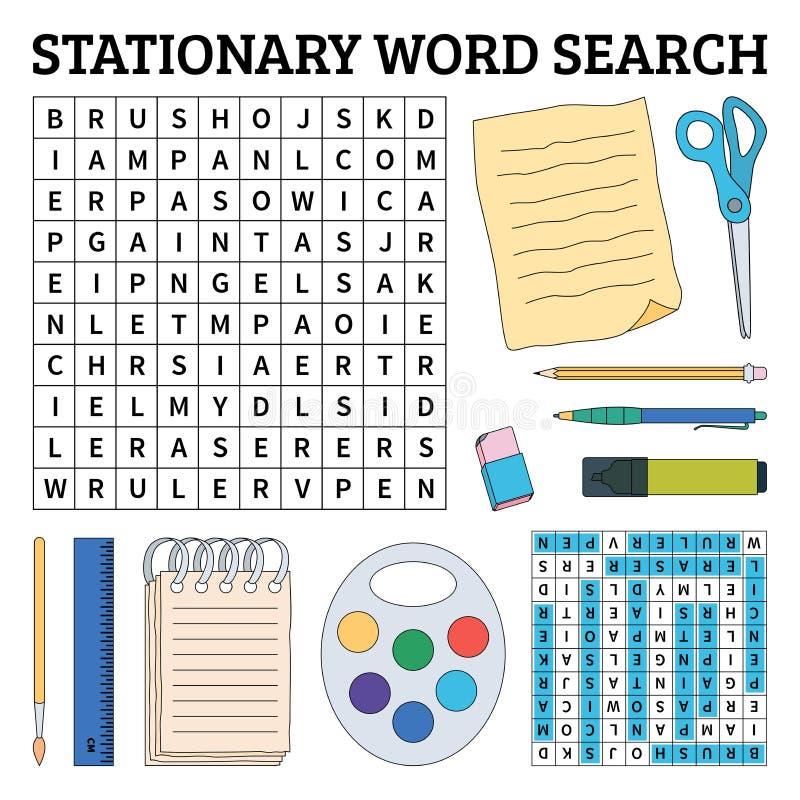 Jogo de busca estacionário da palavra para crianças Ilustração do vetor para o le ilustração stock