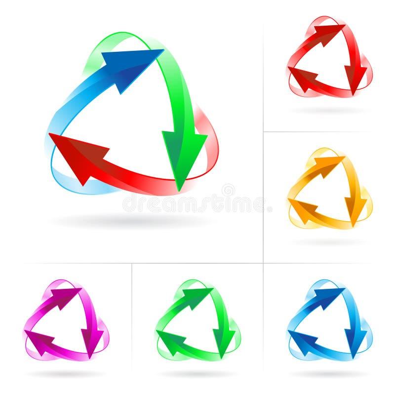 Jogo de círculos da seta ilustração do vetor