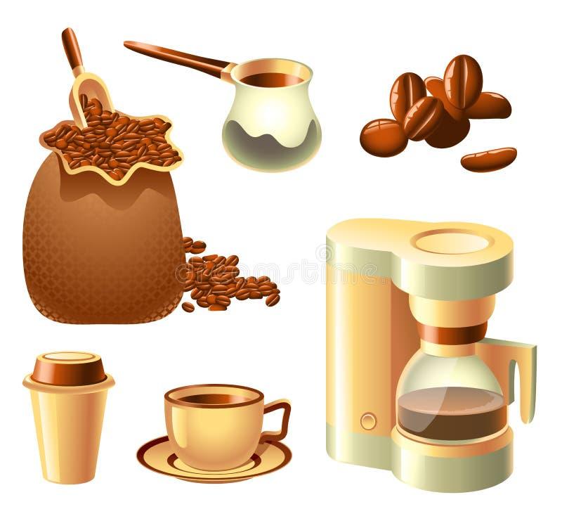 Jogo de café ilustração do vetor