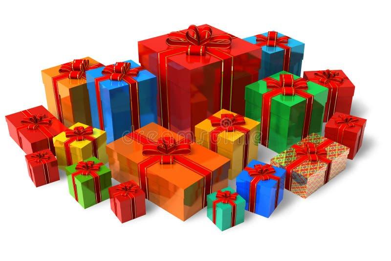 Jogo de caixas de presente da cor ilustração stock