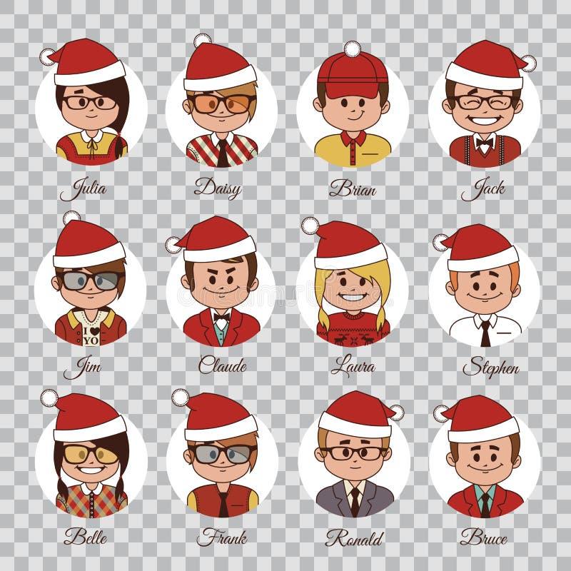 Jogo de caráteres do Natal Grupo de equipe do escritório dos avatars em chapéus do Natal Caráteres em tampões do Natal Ícones do  ilustração stock