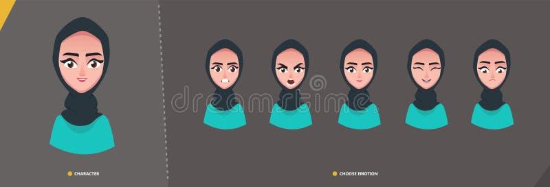 Jogo de caracteres árabe da menina da mulher das emoções ilustração royalty free