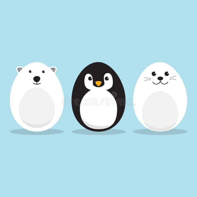 Jogo de caracteres ártico dado forma ovo dos animais ilustração stock