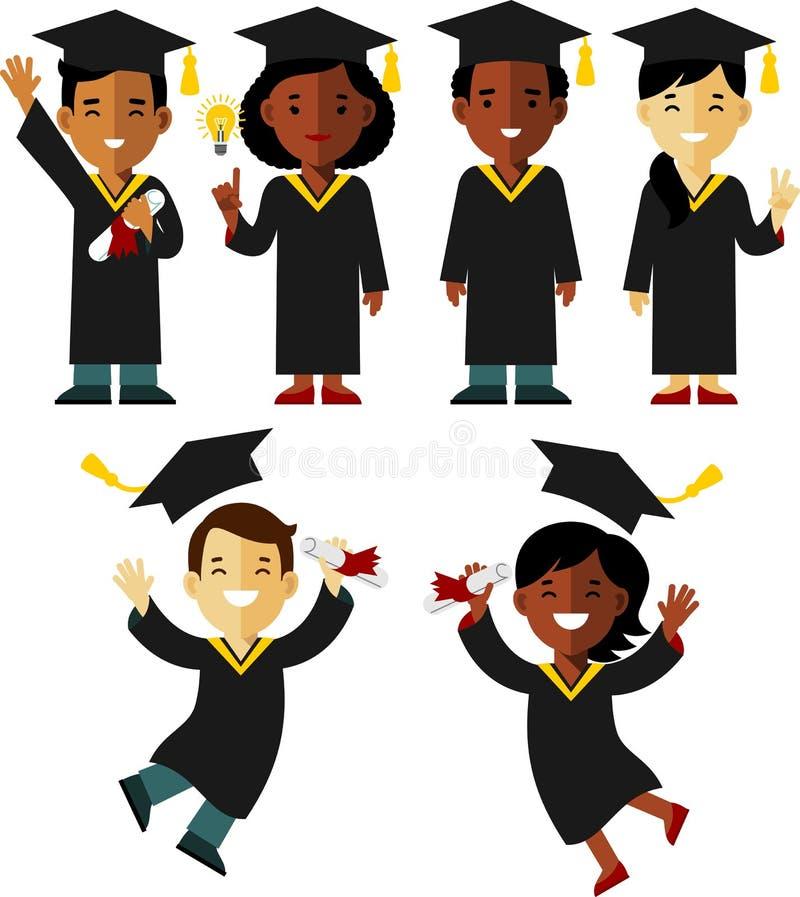 Jogo de caracteres étnico diferente dos graduados no estilo liso ilustração do vetor