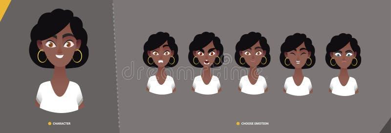 Jogo de caracteres afro-americano da mulher das emoções ilustração royalty free
