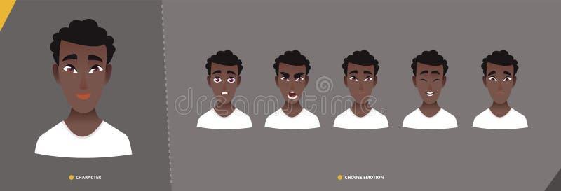 Jogo de caracteres afro-americano do homem das emoções ilustração stock