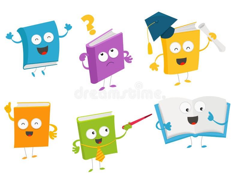 Jogo de caracteres bonito do livro ilustração stock