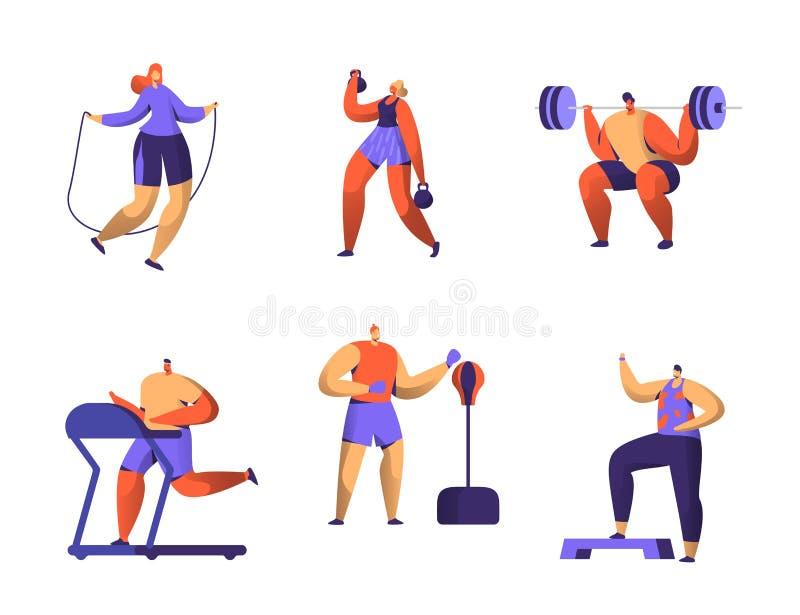 Jogo de caracteres da aptidão do Gym Figura coleção do homem e da mulher do exercício do esporte cardio- Weightlifter aeróbio sau ilustração do vetor
