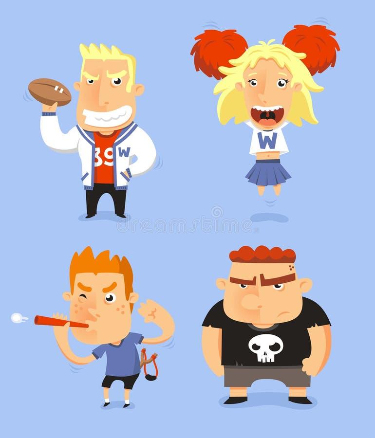 Jogo de caracteres da High School ilustração do vetor
